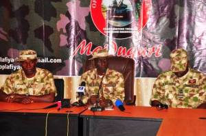 Maj. Gen. Leo Irabor (centre) during the press conference
