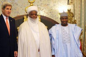 US Secretary of State, John Kerry, Sulan of Sokoto, Sa'ad Abubakar and Governor of Sokoto State, Aminu Tambuwal