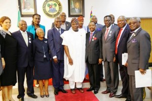 Lagos State Governor, Mr. Akinwunmi Ambode (middle), in a group photograph with the Executive Council of the Nigerian-British Chamber of Commerce