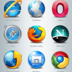 icônes glossy navigateurs