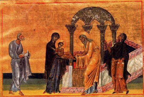 Presentación de Jesús, miniatura, Menologio de Basilio II. Vat. gr.1613 f.365, hacia 985, Biblioteca Apostólica Vaticana, Roma.