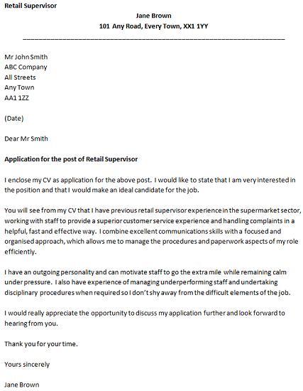 retail supervisor cover letter example