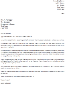 air traffic controller cover letter example