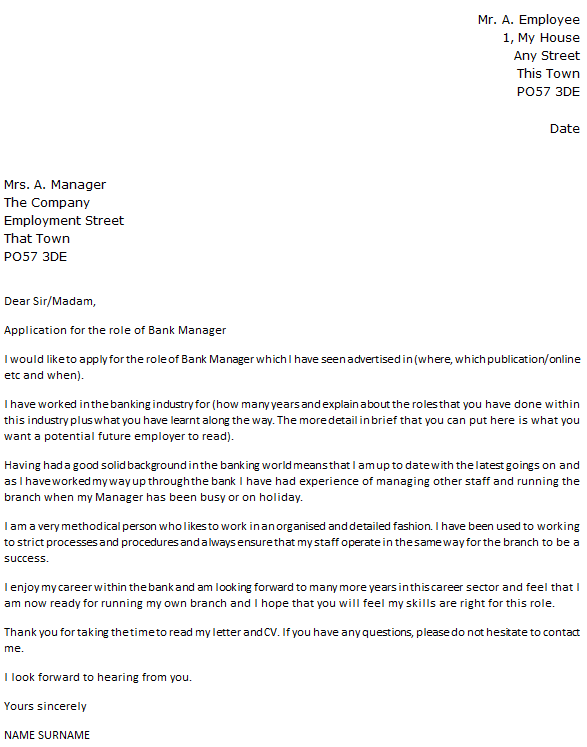 Bank Manager Cover Letter Example
