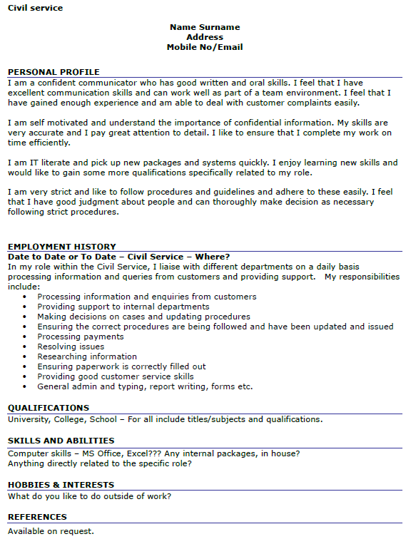 civil service cv example