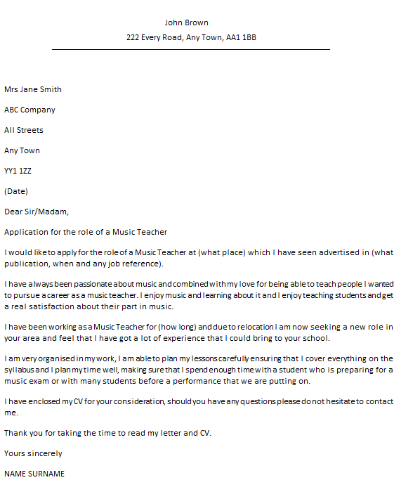 teaching cover letter sample uk