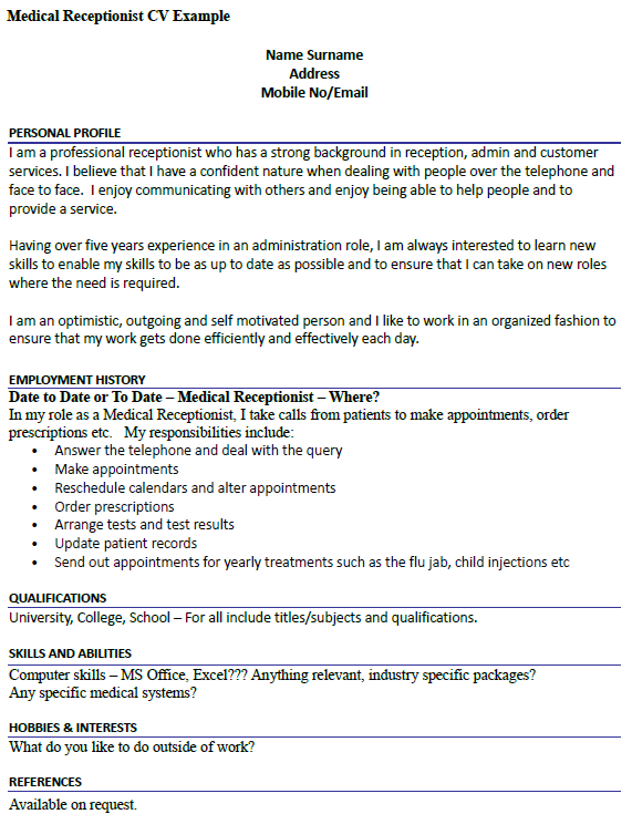 medical receptionist cv example