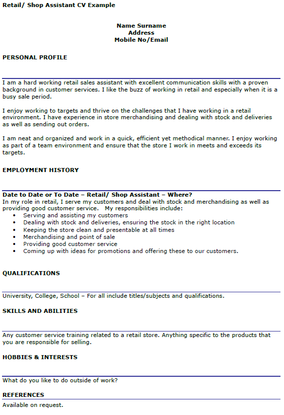 retail assistant cv example