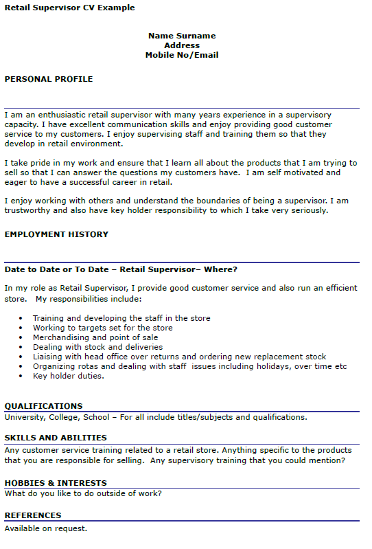 retail supervisor cv example
