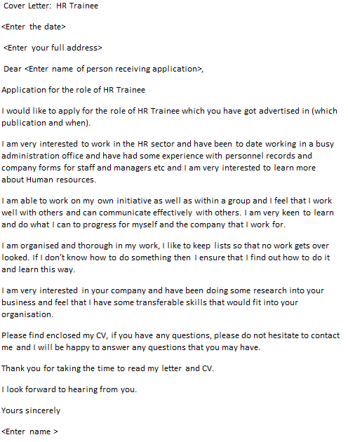 hr trainee cover letter example - Cover Letter For Apprenticeship