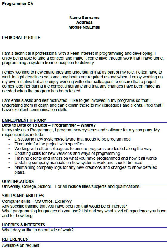 Computer Programmer Analyst Cover Letter