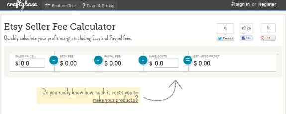 CraftyBase Etsy Seller Fee Calculator