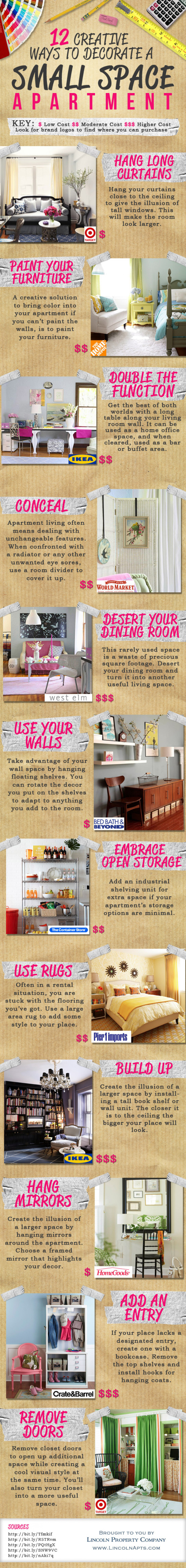 16 Creative Ways to Decorate a Small Space Infographic