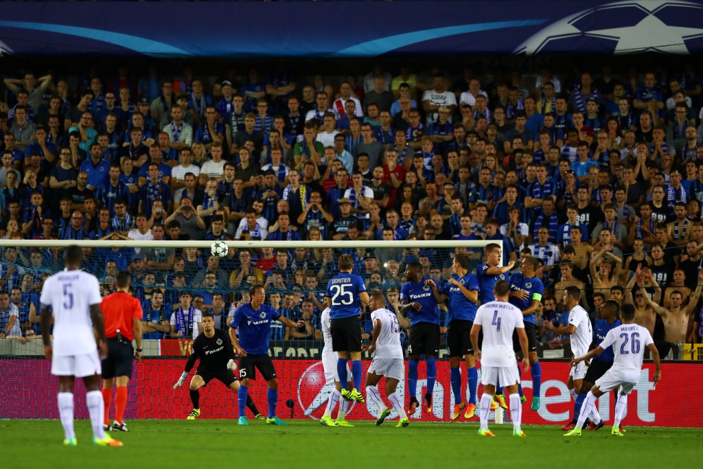 BRUGGE, BELGIUM - SEPTEMBER 14:  Riyad Mahrez of Leicester City scores from a free kick for their second goal during the UEFA Champions League match between Club Brugge KV and Leicester City FC at Jan Breydel Stadium on September 14, 2016 in Brugge, Belgium.  (Photo by Dean Mouhtaropoulos/Getty Images)