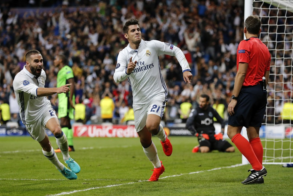 MADRID, SPAIN - SEPTEMBER 14:  Alvaro Morata of Real Madrid celebrates after scoring his team's second goal during the UEFA Champions League Group F match between Real Madrid CF and Sporting Clube de Portugal on September 14, 2016 in Madrid, Spain.  (Photo by Angel Martinez/Real Madrid via Getty Images)