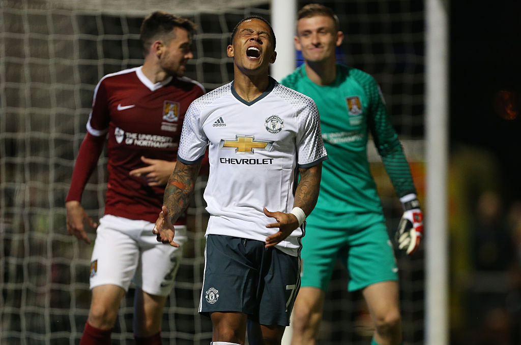 NORTHAMPTON, ENGLAND - SEPTEMBER 21: A frustrated Memphis Depay of Manchester United shouts during the EFL Cup match between Northampton Town and Manchester United at Sixfields on September 21, 2016 in Northampton, England. (Photo by Catherine Ivill - AMA/Getty Images)