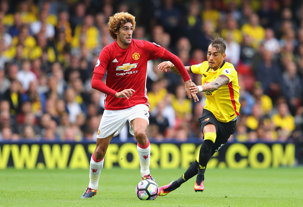 WATFORD, ENGLAND - SEPTEMBER 18: Marouane Fellaini of Manchester United in action during the Premier League match between Watford and Manchester United at Vicarage Road on September 18, 2016 in Watford, England.  (Photo by Richard Heathcote/Getty Images)