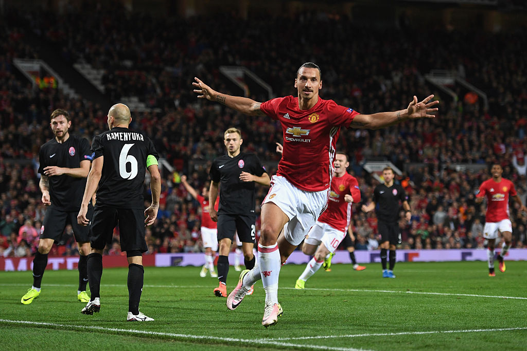 MANCHESTER, ENGLAND - SEPTEMBER 29:  Zlatan Ibrahimovic of Manchester United celebrates after scoring the opening goal during the UEFA Europa League group A match between Manchester United FC and FC Zorya Luhansk at Old Trafford on September 29, 2016 in Manchester, England.  (Photo by Laurence Griffiths/Getty Images)