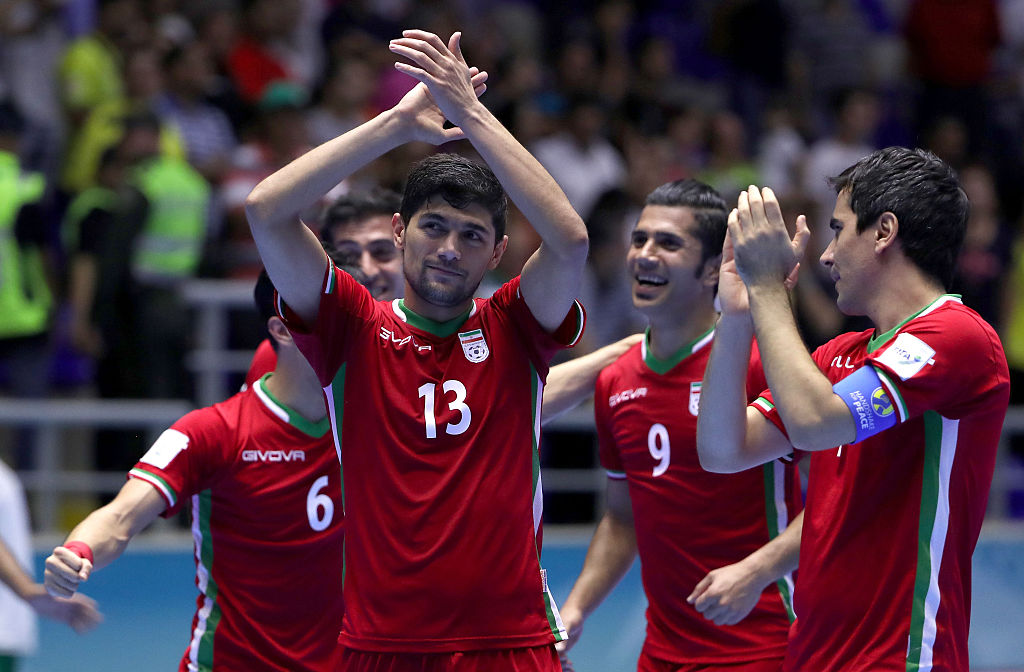 during round of 16 match play between Brazil and Iran in the 2016 FIFA Futsal World Cup at Coliseo Bicentenario on September 21, 2016 in Bucaramanga, Colombia.