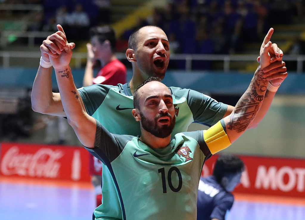 CALI, COLOMBIA - SEPTEMBER 25:  Ricardinho of Portugal celebrates scoring his team's third goal during the FIFA Futsal World Cup Quarter-Final match between Azerbaijan and Portugal at the Coliseo el Pueblo Stadium on September 25, 2016 in Cali, Colombia. (Photo by Ian MacNicol - FIFA/FIFA via Getty Images)