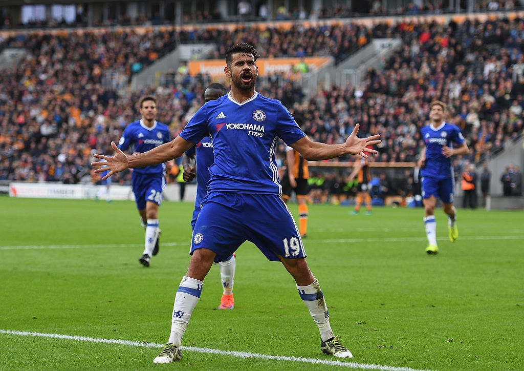 HULL, ENGLAND - OCTOBER 01:  Diego Costa of Chelsea celebrates scoring his sides second goal during the Premier League match between Hull City and Chelsea at KC Stadium on October 1, 2016 in Hull, England.  (Photo by Shaun Botterill/Getty Images)