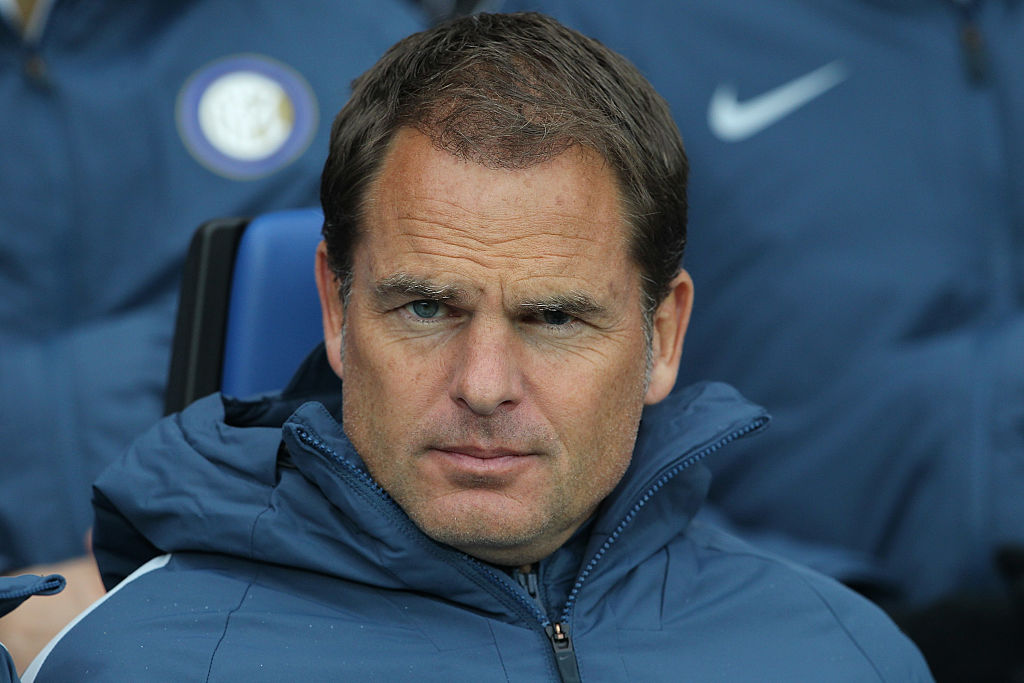 BERGAMO, ITALY - OCTOBER 23:  FC Internazionale Milano coach Frank de Boer looks on before the Serie A match between Atalanta BC and FC Internazionale at Stadio Atleti Azzurri d'Italia on October 23, 2016 in Bergamo, Italy.  (Photo by Marco Luzzani/Getty Images)