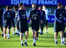 (L-R) Laurent Koscielny of France and Andre Pierre Gignac of France share a joke during the training session of the French team at the Centre National du Football  on October 3, 2016 in Clairefontaine, France. (Photo by Dave Winter/Icon Sport) (Photo by Dave Winter/Icon Sport via Getty Images)