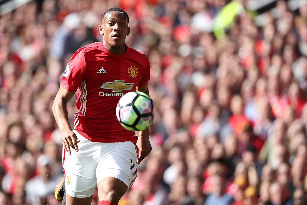 MANCHESTER, ENGLAND - OCTOBER 02: Anthony Martial of Manchester United during the Premier League match between Manchester United and Stoke City at Old Trafford on October 2, 2016 in Manchester, England. (Photo by Matthew Ashton - AMA/Getty Images)