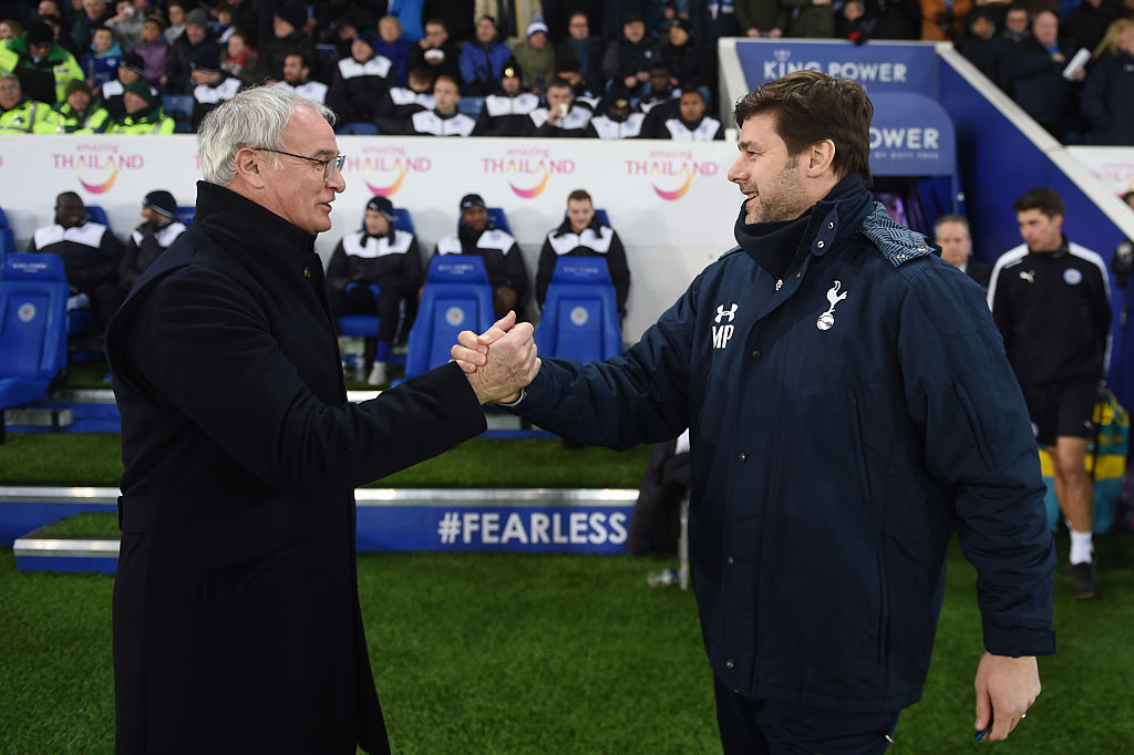 LEICESTER, ENGLAND - JANUARY 20:  Claudio Ranieri the manager of Leicester City greets Mauricio Pochettino the manager of Spurs prior to kickoff during the Emirates FA Cup Third Round Replay match between Leicester City and Tottenham Hotspur at The King Power Stadium on January 20, 2016 in Leicester, England.  (Photo by Michael Regan/Getty Images)