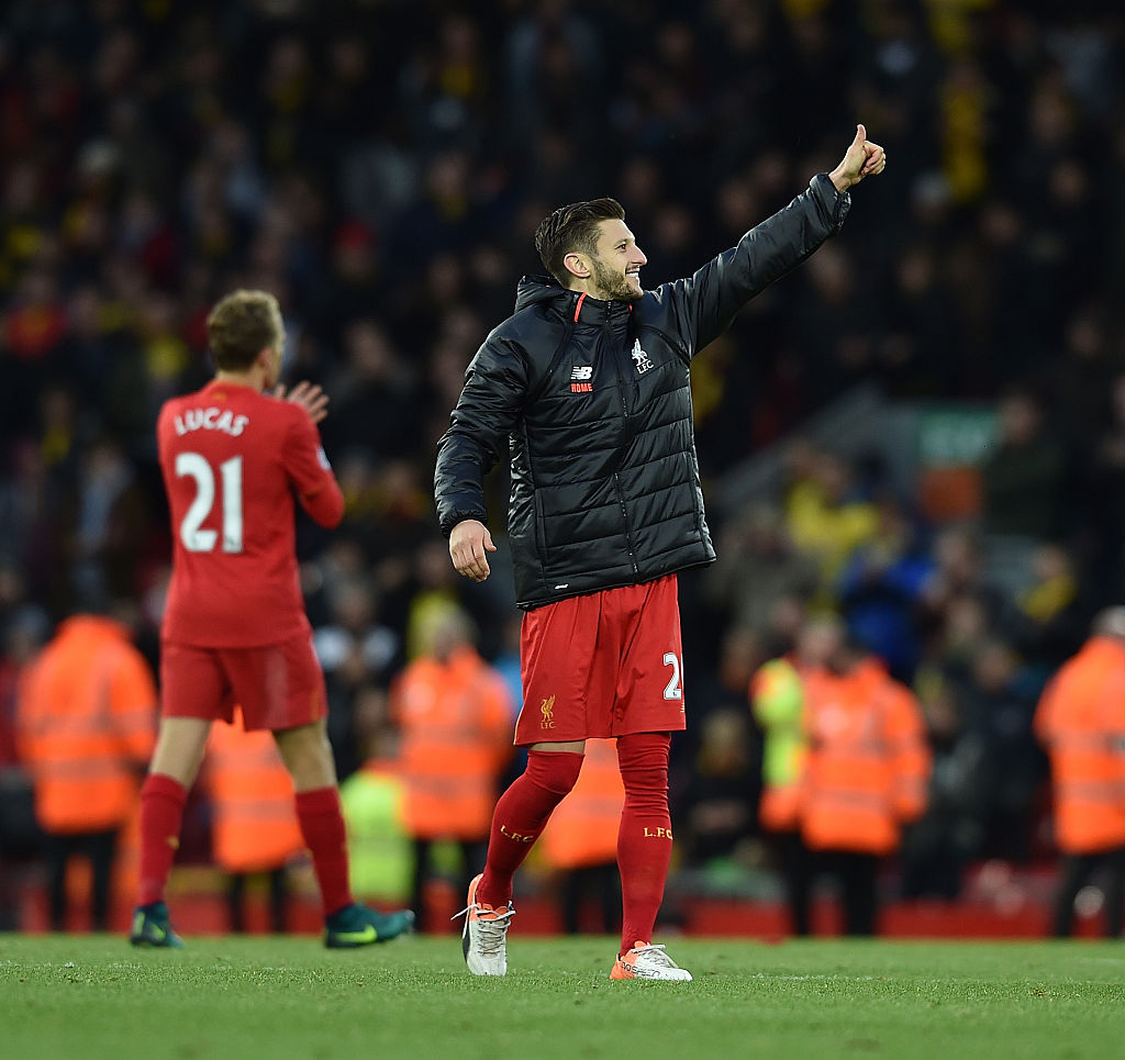 LIVERPOOL, ENGLAND - NOVEMBER 06: (THE SUN OUT, THE SUN ON SUNDAY OUT)Adam Lallana of Liverpool at the end of the Premier League match between Liverpool and Watford at Anfield on November 6, 2016 in Liverpool, England. (Photo by Andrew Powell/Liverpool FC via Getty Images)