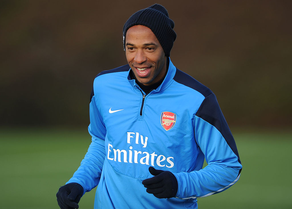 ST ALBANS, ENGLAND - JANUARY 12: Ex Arsenal player Thierry Henry during a training session at London Colney on January 12, 2014 in St Albans, England. (Photo by Stuart MacFarlane/Arsenal FC via Getty Images)