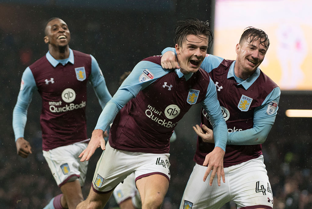 Birmingham, ENGLAND- DECEMBER 10: Jack Grealish  of Aston Villa  celebrates after scoring the first goal during the Sky Bet Championship match between Aston Villa and Wigan Athletic at Villa Park on December 10, 2016 in Birmingham, England (Photo by Nathan Stirk/Getty Images)