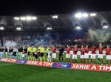 ROME, ITALY - APRIL 08:  Team of Roma and team of Lazio before the Serie A match between AS Roma and S.S. Lazio at Stadio Olimpico on April 8, 2013 in Rome, Italy.  (Photo by Giuseppe Bellini/Getty Images)