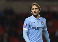 LEIGH, ENGLAND - FEBRUARY 11:  Aleix Garcia of Manchester City U21 during the Barclays Under-21 Premier League Division One match between Manchester United U21 and Manchester City U21 at  Leigh Sports Village Stadium on February 11, 2016 in Leigh, England.  (Photo by Matthew Ashton - AMA / via Getty Images)