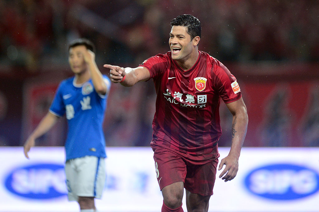 SHANGHAI, CHINA - JULY 10:  (CHINA OUT) Hulk #8 of Shanghai SIPG celebrates after scoring a goal during the Chinese Football Association Super League match between Shanghai SIPG and Henan Jianye at Shanghai Stadium on July 10, 2016 in Shanghai, China.  (Photo by VCG/VCG via Getty Images)