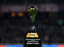 YOKOHAMA, JAPAN - DECEMBER 18:  The winners trophy is seen prior to the FIFA Club World Cup Final match between Real Madrid and Kashima Antlers at International Stadium Yokohama on December 18, 2016 in Yokohama, Japan.  (Photo by Shaun Botterill - FIFA/FIFA via Getty Images)