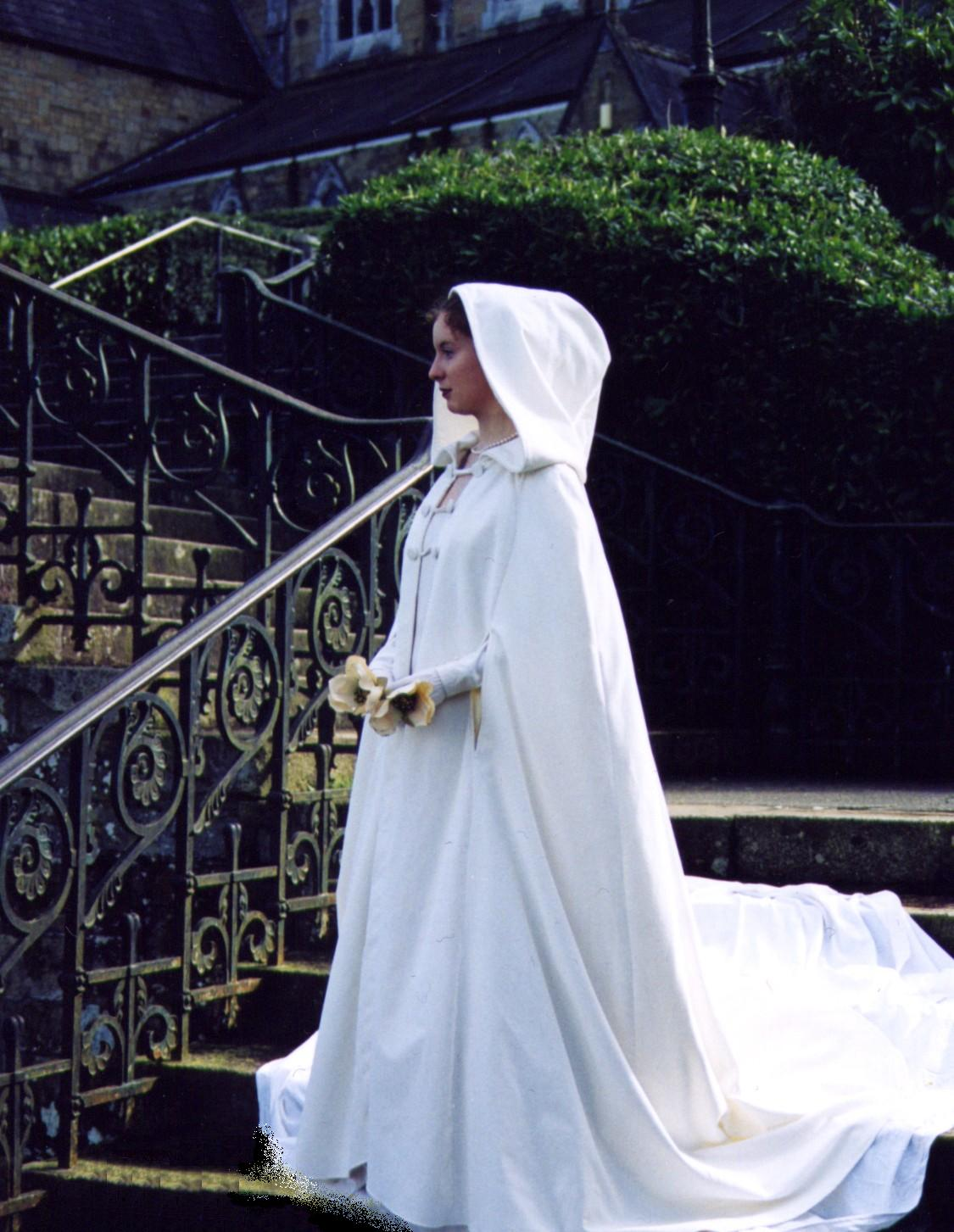 bridal wedding dress with cape The Sinead Bridal Cloak Hood Item No handcrafted in Ireland by Siobhan