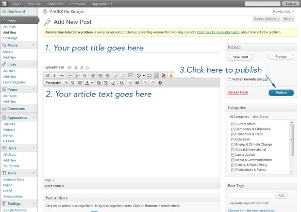 write and publish a new post in wordpress
