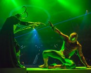 courtesy photo/feld entertainment  Spider-Man fights back as Loki attempts to use his mind tricks in Marvel Universe Live. The stunt show runs at the Citizens Business Bank Arena in Ontario April 9-12.