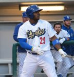 Photo/Richard Dawson<br /><br /><br /><br /><br /><br /><br /><br /><br /><br /><br /> Yasiel Puig, of the Los Angeles Dodgers, started his rehab assignment with the Rancho Cucamonga Quakes against the Visalia Rawhide on Thursday, May 7.