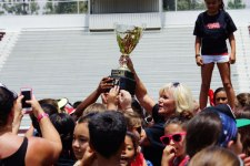 "iecn photo/yazmin alvarez&lt;br /&gt;&lt;br /&gt;&lt;br /&gt;&lt;br /&gt;<br /> Students and teachers from Cram Elementary celebrate after winning the ""Y Cup"" during the first-ever district-wide Field Day."