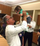courtesy photo/redlands community hospital Dr. Joseph Awadalla of Redlands Community Hospital helps celebrate Logan Thiem-Nelson's first birthday. Logan was born premature at just 22 weeks.