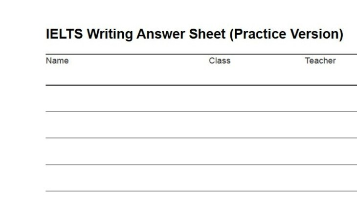 IELTS Writing Answer Sheet Practice Version