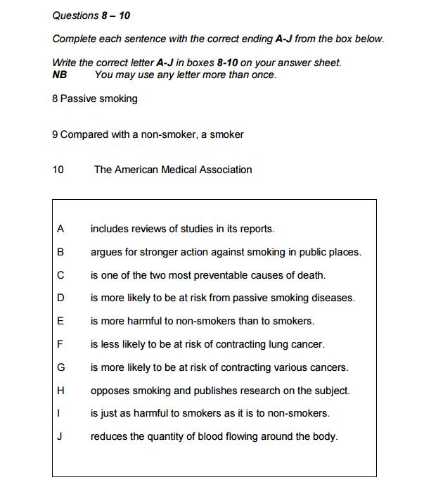Complete Sentence endings