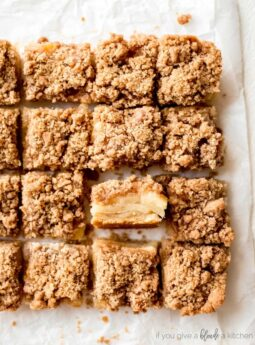 easy apple crisp bars crumble topping slice showing filling cut into squares