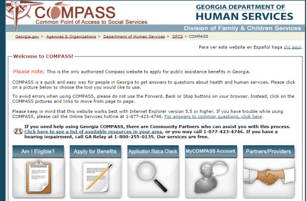 www.compass.ga.gov food stamps review