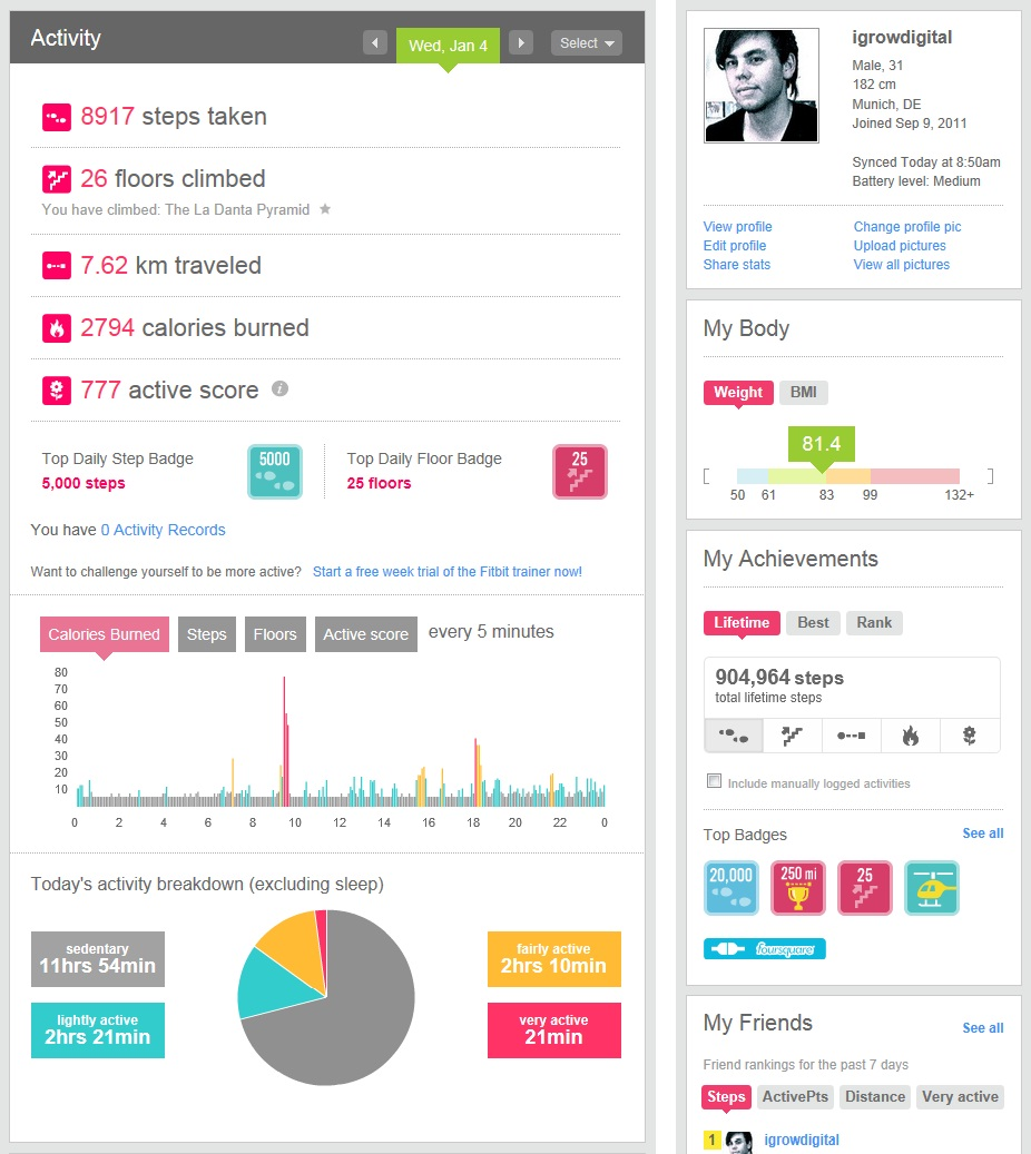 Fitbit online profile