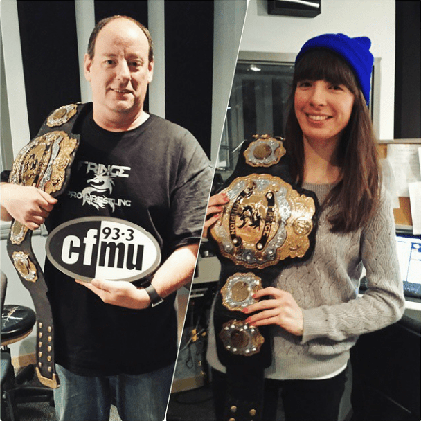 Cameron Banks of Fringe Pro Wrestling; Kristin trying the belt on for size