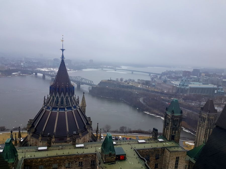 View from elevator inside Parliament Hill