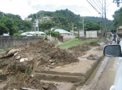 Flood damage in Maraval on the way to Maracas Bay in Trinidad and Tobago